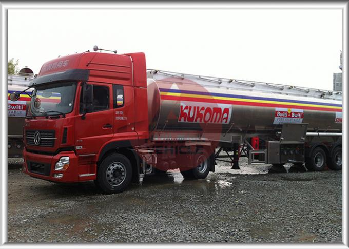 Oil Transport 5000 Gallon Fuel Tank Trailer , 3 Axles Fuel Transfer Tank Trailer 13T Axle Bearing