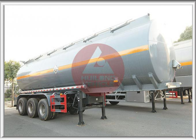 Sulfuric Acid Chemical Tank Trailer , Tank Semi Trailer With Plastic Liner Inside