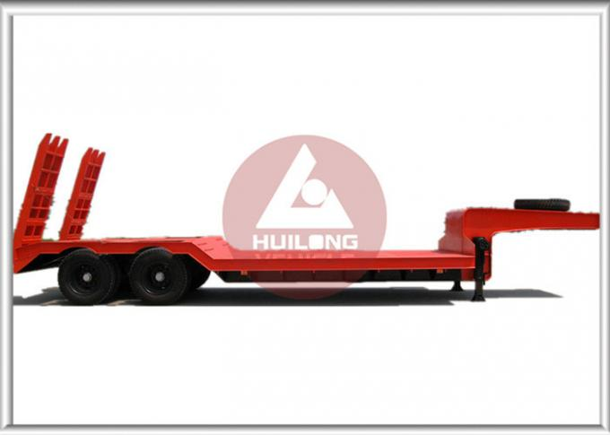 Anti - Shock Tyre Heavy Duty Trailer Concave Low Bed Trailer  Dual Line Brake System