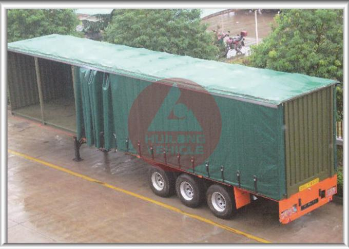 Leaf Spring Curtain Side Trailer , PVC Cover Soft Side Semi Trailer Submerged ARC Welding