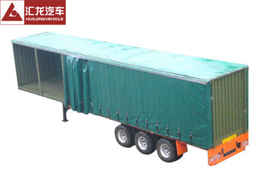 China Leaf Spring Curtain Side Trailer , PVC Cover Soft Side Semi Trailer Submerged ARC Welding supplier